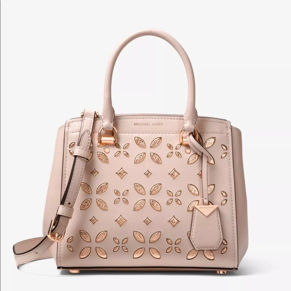 dfebf09f0 Michael Kors Bags   Benning Floral Rose Leather Satchel   Poshmark
